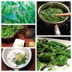 quick snow peas with lemon herb dressing