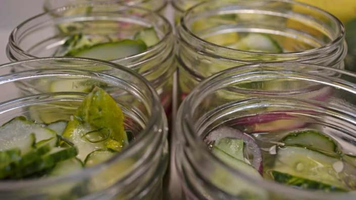Packed Cilantro Freezer Pickles