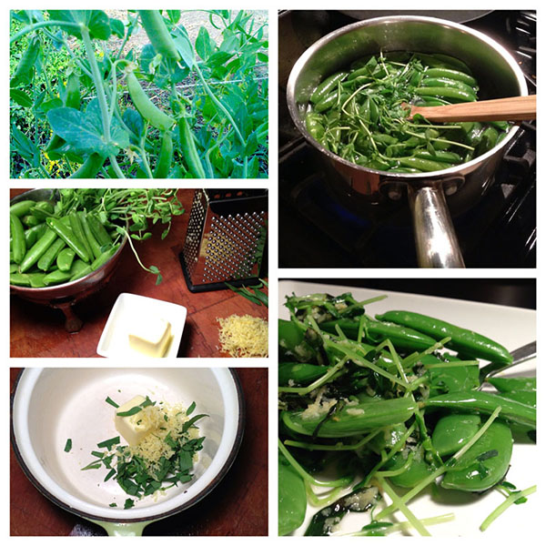 quick snow peas with lemon herb dressing