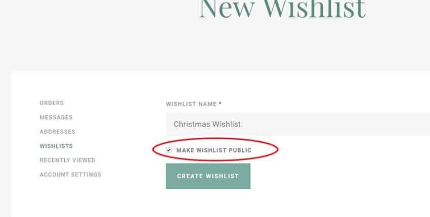 Create a new wishlist
