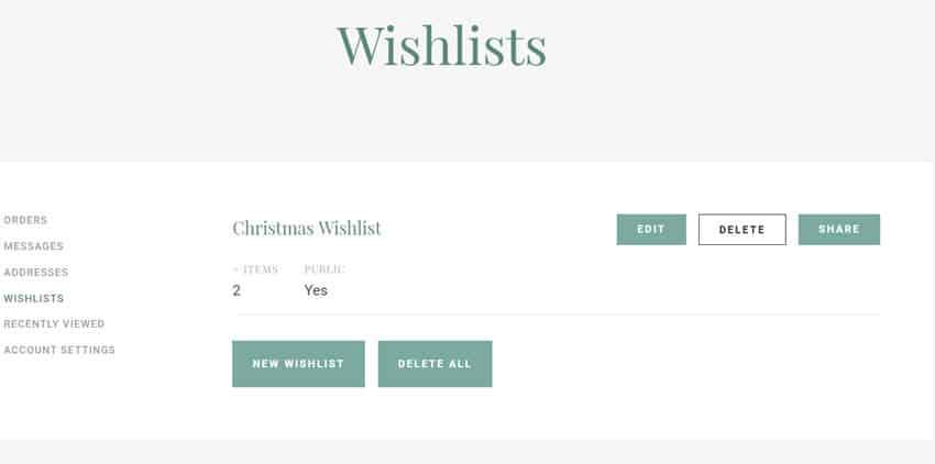 Wishlist menu