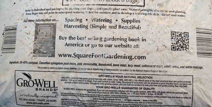 Square Foot Potting Soil Ingredients