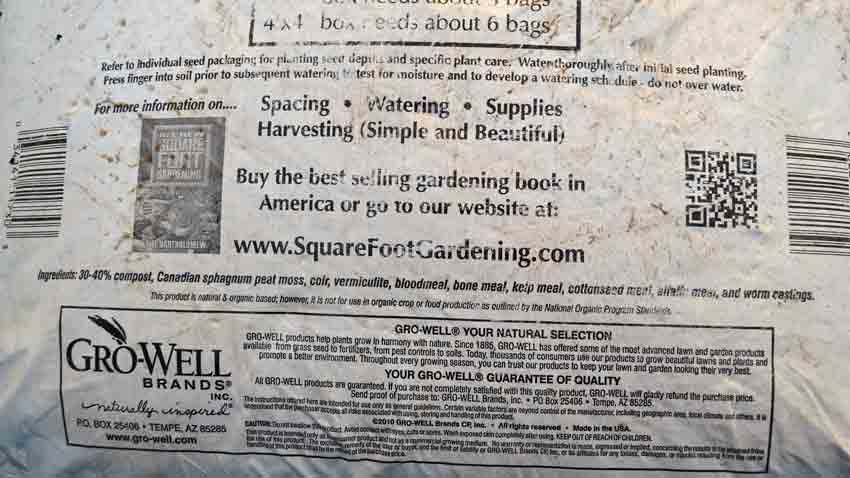 Wonderful Square Foot Potting Soil Ingredients