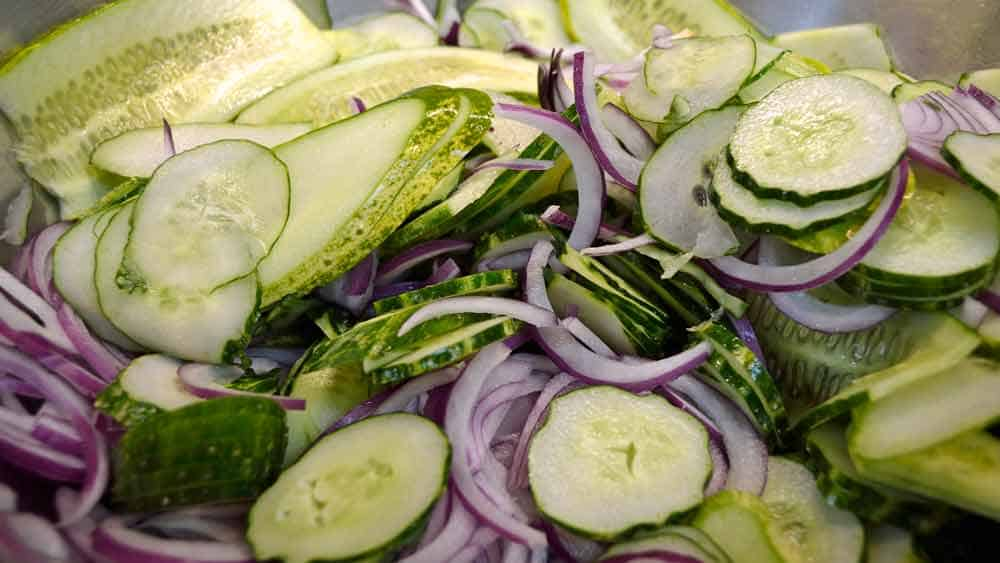 Lime-Mint Freezer Pickles Ready for Salt
