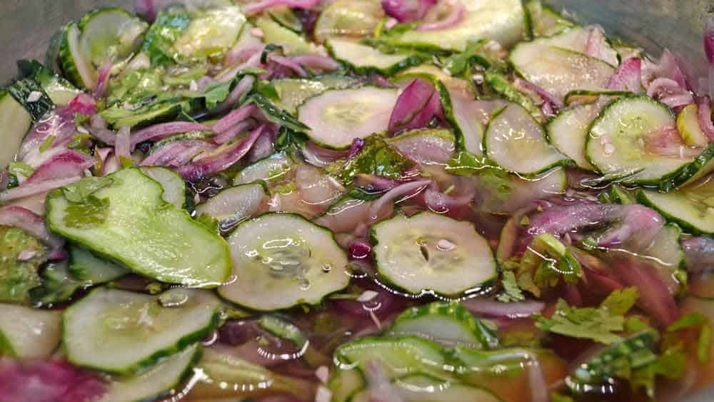 Brined Lime-Mint Freezer Pickles