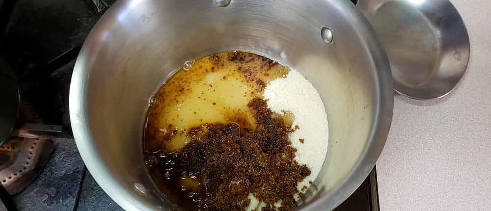 Raw sugar, brown sugar, water and splash of lemon juice for caramel sauce